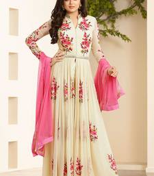Cream Georgette embroidered unstitched salwar with dupatta shop online