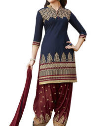 Buy Navy blue cotton embroidered unstitched salwar with dupatta patiala-salwar online