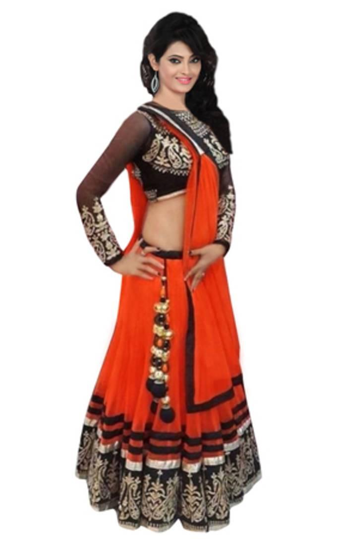 Buy Orange Soft Net Party Wear Ghagra Choli Online