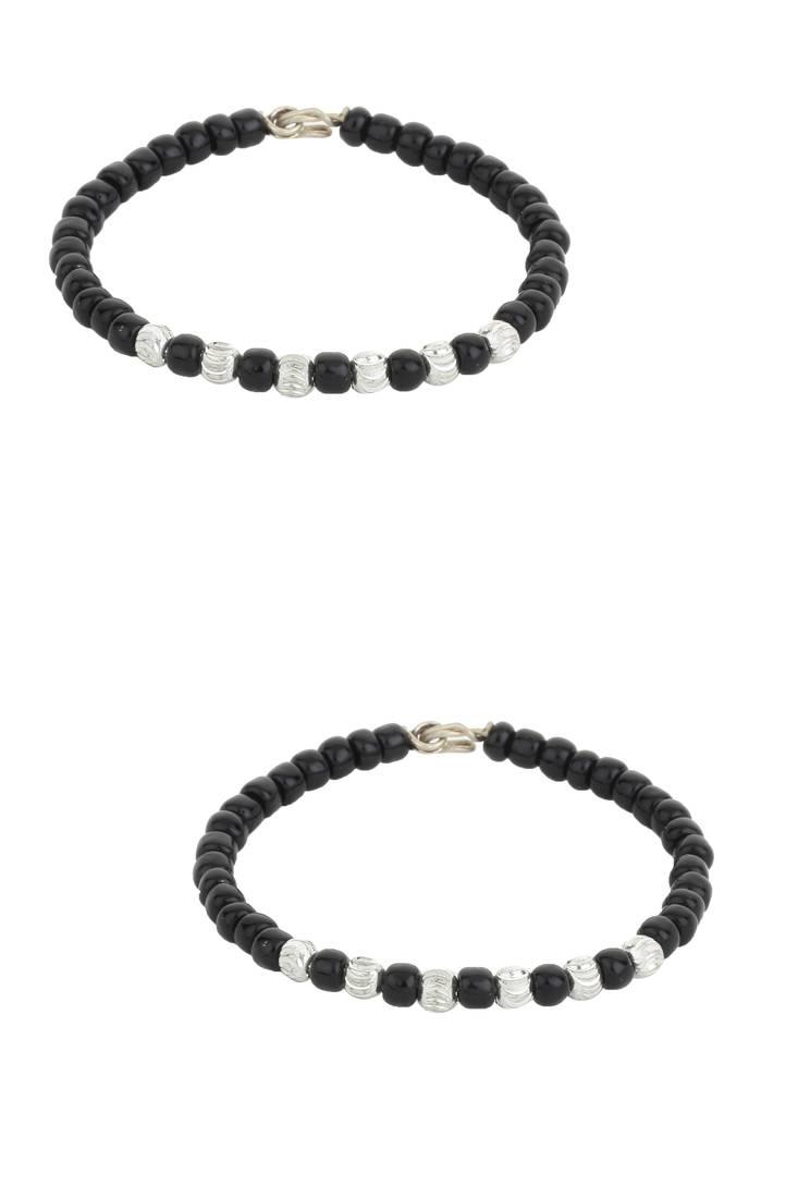 Buy Silver And Black Beaded Nazariya Bracelet For Babies