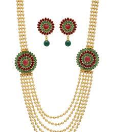 Buy ANTIQUE GOLDEN GREEN RED PEARLS SIDE LOCKET NECKLACE SET Necklace online
