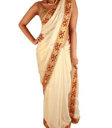 Buy Pearl white satin saree with red and gold cutwork pattern satin-saree online