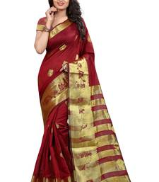 Buy MAROON hand woven tussar silk saree With Blouse tussar-silk-saree online