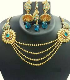 Buy Golden necklace with teal stones Necklace online