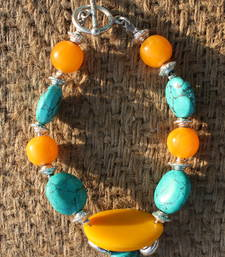 Buy YELLOW AND TURQUOISE BRACELET thanksgiving-gift online