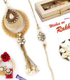 Buy Dashing Kundan Studded Golden Bhaiya Bhabhi Rakhi Set rakhi-international online