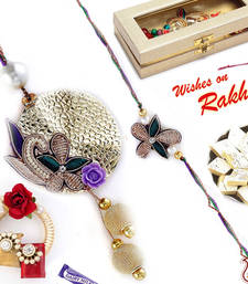Buy Zardosi Bhaiya Bhabhi Rakhi Set with embossed metal sheet and Balls rakhi-international online