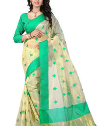Buy Green hand woven ORGANZA  saree With Blouse organza-saree online