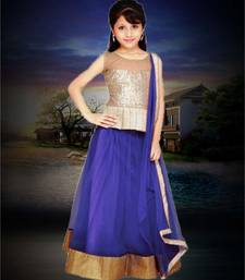 Buy Navy blue plain net kids lehenga choli kids-lehenga-choli online
