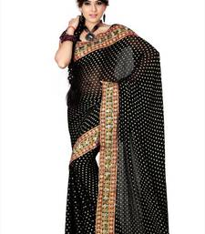 Buy Black viscose saree with blouse (anc452) vase online