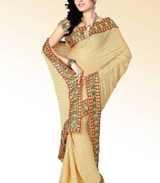 Buy Beige viscose saree with blouse (anc454) viscose-saree online
