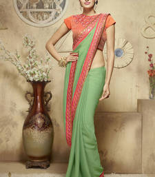 Buy light green embroidered jacquard saree With Blouse jacquard-saree online