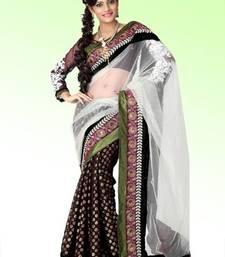 Buy Bollywood Dark brown viscose saree with blouse (anj573) viscose-saree online