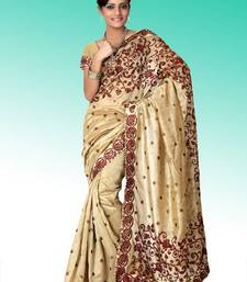 Buy Beige bhagalpuri silk saree with blouse (anj579) bhagalpuri-silk-saree online