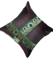 Mulberry Silk Cushions with applique patterns - Dark Brown shop online