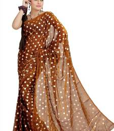 Buy Brown satin tissue saree with unstitched blouse (msk1078) satin-saree online