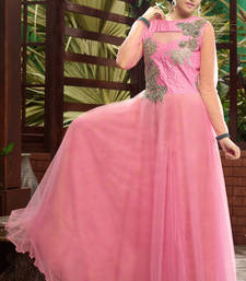 Buy Pink embroidered net party-wear-gowns party-wear-gown online