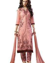 Buy Peach and pink embroidered cotton unstitched salwar with dupatta gifts-for-sister online