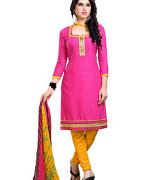 Buy Pink embroidered cotton unstitched salwar with dupatta gifts-for-sister online