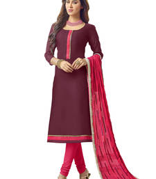 Buy Wine embroidered banarasi chanderi unstitched salwar with dupatta gifts-for-sister online