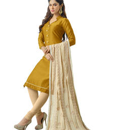 Buy Golden yellow embroidered banarasi chanderi unstitched salwar with dupatta gifts-for-sister online