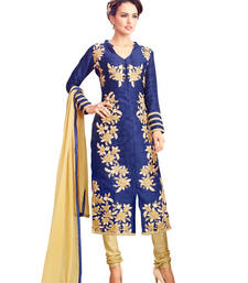Buy Dark blue embroidered cotton unstitched salwar with dupatta gifts-for-sister online