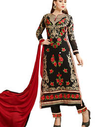 Buy Black embroidered georgette unstitched salwar with dupatta gifts-for-sister online