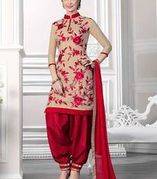 Buy Cream georgette embroidered semi stitched salwar with dupatta patiala-salwar online