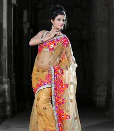 Buy Carrot orange net saree with unstitched blouse (bwd923) net-saree online
