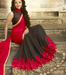 Buy red embroidered georgette saree With Blouse eid-saree online