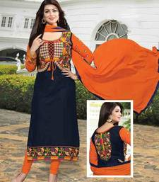Buy Blue cotton embroidered semi stitiched salwar with dupatta party-wear-salwar-kameez online