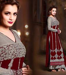 Buy Maroon georgette embroidered semi stitiched salwar with dupatta party-wear-salwar-kameez online