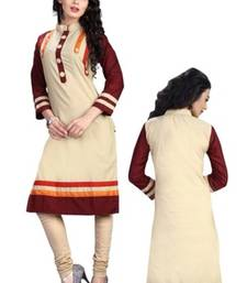 cream and coffee cotton printed straight semi stitched kurti shop online