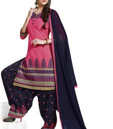 Buy Pink cotton embroidered unstitched salwar with dupatta patiala-salwar online