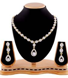Buy Exotic White Stone Gold Finishing Necklace Set curated-jewelry online