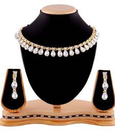 Buy Exclusive Design Gold Finishing White Stone Necklace Set eid-jewellery online
