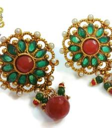Buy Antique green  kundan earrings men-kurta online