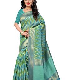 Buy aqua blue hand woven linen saree With Blouse cotton-saree online