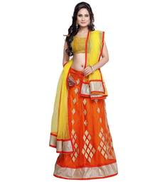 Buy Orange embroidered net semi stitched lehenga choli lehenga-choli online