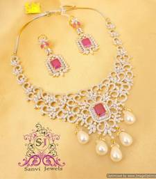 Buy Ruby American Diamond Pearl Necklace Set Necklace online