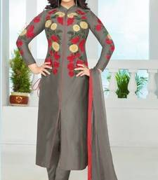 Buy Grey cotton embroidered semi stitiched salwar with dupatta cotton-salwar-kameez online