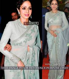 Buy Sky Blue embroidered net saree With Blouse sridevi-saree online