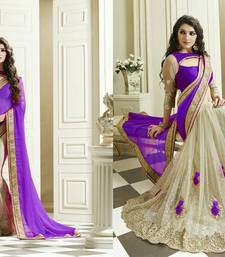 Buy Lavender embroidered satin saree With Blouse satin-saree online