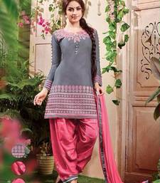 Buy Grey cotton embroidered semi stitched salwar with dupatta party-wear-salwar-kameez online