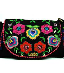 Buy Black Floral Embroidered Sling handbag online