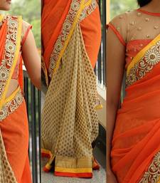 Buy orange embroidered viscose saree With Blouse viscose-saree online