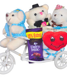 Buy Blue big cycle with three teddybear and chocolate heart keychain valentine gift set gifts-for-girlfriend online