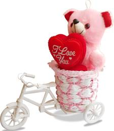 Buy Pink love heart teddybear showpiece valentine gift set gifts-for-girlfriend online