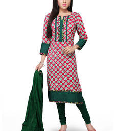 Buy Pink and green printed rayon readymade salwar with dupatta readymade-suit online