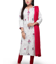Buy Off white printed cotton readymade salwar with dupatta readymade-suit online